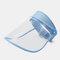 COLLROWN Transparent Screen Sun Hat Empty Top Hat Big Brim Cover Face Hat - Blue