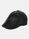 Men Faux Leather Casual Outdoor Warm Solid Color Forward Hat Beret Hat Flat Cap - Black 1