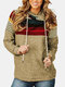 Striped Patchwork Contrast Color Casual Hoodie For Women - Khaki