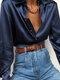 Elegant Solid Color Long Sleeve Basic Satin Plus Size Shirt For Women - Navy