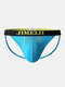 Mens Cotton Letter Waistband Low Waist Sexy Comfy Thin Home Thongs - Blue