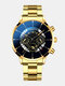 Business Men Watch Steel Band Waterproof Calendar Quartz Watch - Gold Needle Gold Band