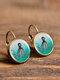 Vintage Glass Gem Dangle Women Earrings Animal Insect Cats Birds Pattern Earrings - #11