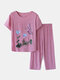 Women Butterfly Print Loungewear Short Sleeve Floral Loose Breathable O-Neck Summer Pajamas To Wear Outside - Pink