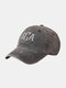 Unisex Washed Cotton Solid Color Letter Pattern Embroidered All-match Sunscreen Baseball Cap - Black