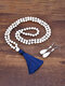 2 Pcs Bohemian Turquoise Women Jewelry Set Tassel Beaded Necklace Sweater Chain Pendant Earrings - #01