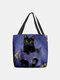 Women Felt Cat Pattern Handbag Shoulder Bag Tote - Blue