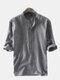 قميص هينلي رجالي مقلم 100٪ قطن 3/4 كم قصير - أسود