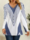 Striped Print Contrast Color Long Sleeve Casual Blouse for Women - Blue
