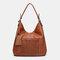 Women Laser Cut Bag Tassel Rivet Tote Bag - Brown