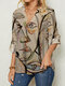 Abstract Pattern Print V-neck Long Sleeve Women Blouse - Apricot