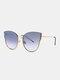 Unisex Metal Cat-eye Frame Hollow Bridge Colorful Lens Anti-UV Sunglasses - #06