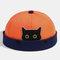 Women & Men Landlord Hat Street Cat Pattern Melon Cap Innocent Standard Sailor Skull Caps Brimless Hats - Orange