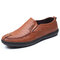 Men Business Style Comfort Soft Slip On Casual Leather Shoes - Brown