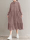 Solid Color Corduroy Patchwork Button Loose Casual Dress - Pink