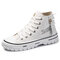 Men Lace-up Round Toe Hard Wearing High Tops Canvas Skate Shoes - White
