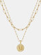 Luxury Layering Paperclip Chain Women Necklace 26 Initials Coin Pendant 14K Gold Plated Necklace Clavicle Chain - U