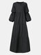 Solid Color Patchwork Long Sleeve Casual Dress For Women - Black