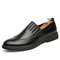 Men Broguo Carved Pure Color Leather Pointed Toe Casual Comfy Slip-on Dress Shoes - Black