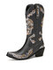 Lostisy Plus Size Women Retro Embroidered Skull Pattern Mid Calf Cowboy Boots - Black