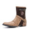 Men Double Metal Buckle Side Zipper Leather Cow Boy Boots - Brown