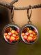 Vintage Glass Gemstone Dangle Earrings plant Flower Pattern Women Pendant Earrings Jewelry - #02