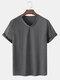 Mens Solid Color V-Neck Plain Short Sleeve Basics T-Shirts - Dark Gray
