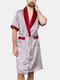 Patchwork Design Faux Silk Pajamas Set Colorblock Bathing Robe and Shorts Sleep Bottoms for Men - Wine Red