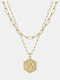 Luxury 14K Gold Plated Hexagonal Women Necklace Gold Layered Paperclip Link 26 Initials Pendant Necklace - A