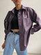 女性のための無地の長袖ラペルカラーファージャケット - 紫