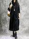 Vintage Corduroy Pocket Long Sleeve Casual Midi Dress - Black