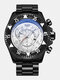 Large Dial Men Business Watch Decorated Pointer Steel Band Calendar Waterproof Quartz Watch - Black Case Silver Dial