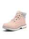 Women Outdoor Warm Lining Lace Up Winter Snow Short Boots - Pink