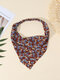 Women Country Style Floral Rose Pattern Elastic Triangle Wrap Headscarf Headband - Coffee