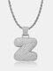 Vintage Letters Copper Zircon English Letters Diamonds Necklaces Pendant - #26