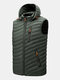 Mens Zip Up Casual Detachable  Drawstring Hooded Padded Gilet Vests - Green