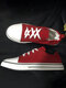 Plus Size Women Casual Lace Up Canvas Wrinkle Ankle White Flat Sneakers - Red