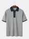 Mens Plain Contrast Collar Zip Casual 100% Cotton Short Sleeve Golf Shirts - Gray