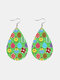 Easter Cute Colorful Bunny Print Leather Drop-shaped Earrings - 4