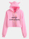 Christmas Letters Print Long Sleeve Casual Hoodie For Women - Pink