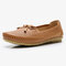 Women Butterfly Knot Decor Casual Comfy Slip On Loafers - Brown