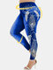 Peacock Feather Print High Waist Plus Size Denim Legging - Navy