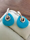 Vintage Geometric Natural Stone Women Earrings Triangle Turquoise Pendant Earrings - Silver