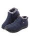 Letter Warm Fur Lining Waterproof Flat Black Sole Boots For Women - Navy