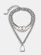 3 Pcs Vintage Alloy Necklace Set Double Ring Geometric Lock-Shaped Pendant Women Necklace - Silver