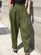 Casual Solid Color Pleated Straight Plus Size Pants - Green