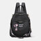 Women Oxford Fluffy Ball Waterproof Embroidery Multi-carry Backpack - Black