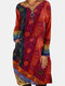 Ethnic Zip Front Pocket Long Sleeve Casual Print Dress - Red