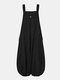 Women Corduroy Solid Color Casual Jumpsuit With Pockets - Black