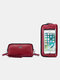 RFID Genuine Leather 6.5 inch Touch Screen Phone Bag Long Wallet Clutch Purse - Wine Red